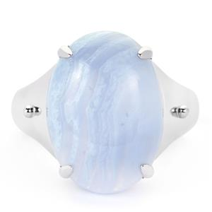 Blue Lace Agate Ring in Sterling Silver 10.16cts