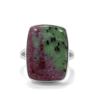 18.38ct Ruby-Zoisite Sterling Silver  Indus Valley Ring