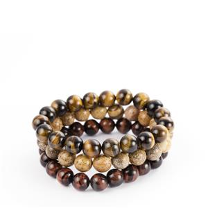 Yellow Tiger's Eye & Picture Jasper Elasticated Bracelet with Red Tiger's Eye 421cts