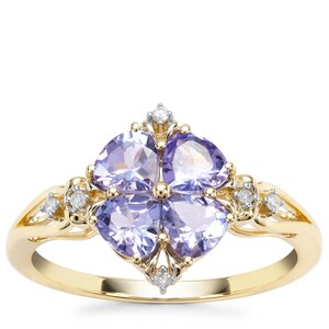 AA Tanzanite Ring with Diamond in 9K Gold 1.11cts