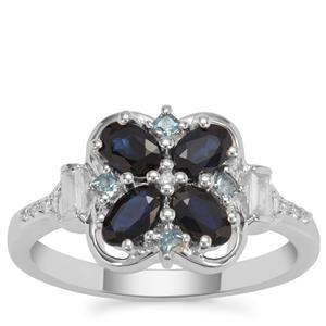 Australian Blue Sapphire, Marambaia London Blue Topaz Ring with White Zircon in Sterling Silver 1.33cts