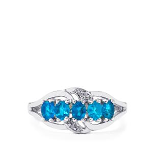 Neon Apatite Ring with Diamond in Sterling Silver 0.85cts