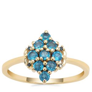 Neon Apatite Ring with Blue Diamond in 9K Gold 0.65ct