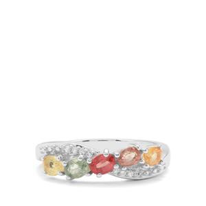 Songea Rainbow Sapphire & White Zircon  Sterling Silver Ring ATGW 1.31cts