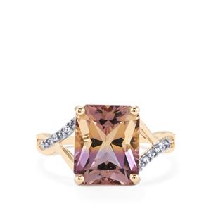 Anahi Ametrine Ring with White Zircon in 10k Gold 4.27cts