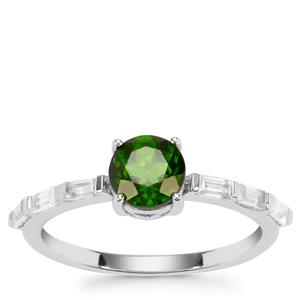 Chrome Diopside Ring with White Zircon in Sterling Silver 1.50cts
