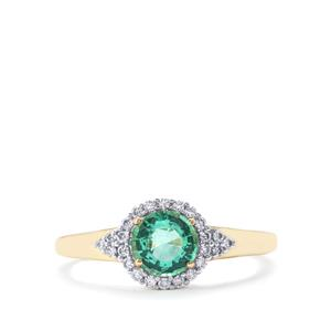 Ethiopian Emerald Ring with Diamond in 18k Gold 0.84cts