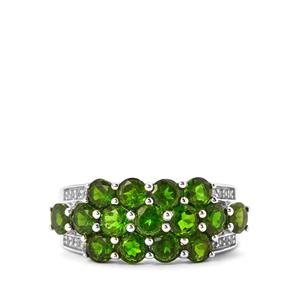 Chrome Diopside & White Topaz Sterling Silver Ring ATGW 3.04cts
