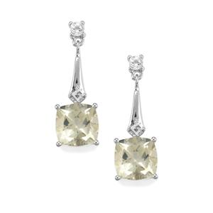 Serenite Earrings with White Topaz in Sterling Silver 5.71cts