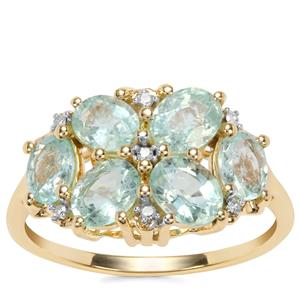 Paraiba Tourmaline Ring with Diamond in 10K Gold 2.24cts