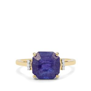 Asscher Cut Tanzanite Ring with Diamond in 9K Gold 4.20cts