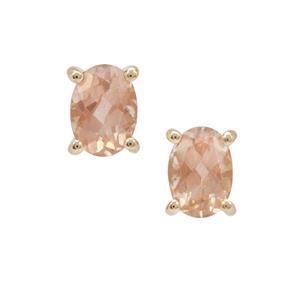 1.52ct Peach Parti Oregon Sunstone 9K Gold Earrings