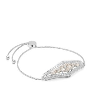 Champagne Danburite Slider Bracelet with White Zircon in Sterling Silver 1.60cts