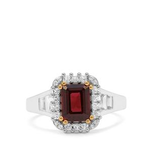 Nampula Garnet Ring with White Zircon in Sterling Silver 2.85cts
