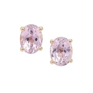 Natural Kunzite Earrings in 9K Gold 3.81cts