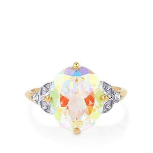 Mercury Mystic Topaz Ring with White Zircon in 10k Gold 5.82cts