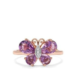 Moroccan Amethyst & White Zircon Rose Midas Butterfly Design Ring ATGW 1.85cts