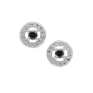 Black Diamond Earrings in Sterling Silver 0.13ct