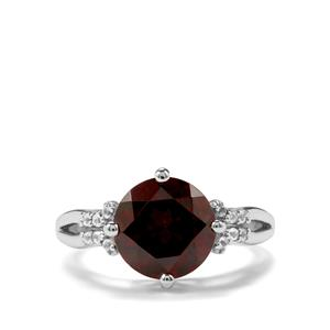 Rajasthan Garnet & White Topaz Sterling Silver Ring ATGW 4.36cts