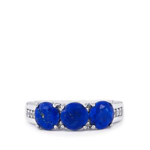 Sar-i-Sang Lapis Lazuli Ring with White Topaz in Sterling Silver 2.44cts