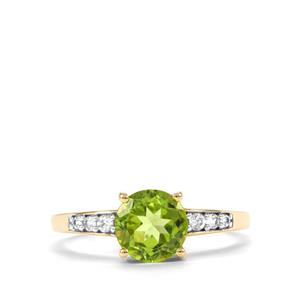 Changbai Peridot Ring with White Zircon in 10k Gold 1.86cts