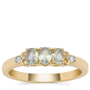 Alexandrite Ring with White Zircon in 9K Gold 0.57ct