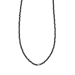 Black Spinel Graduated Beads Necklace in Sterling Silver 33.50cts