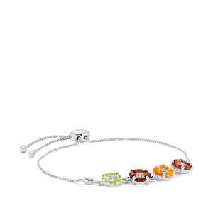 2.62ct Kaleidoscope Gemstones Sterling Silver Slider Bracelet