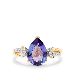 AAA Tanzanite Ring with Diamond in 18K Gold 2.22cts