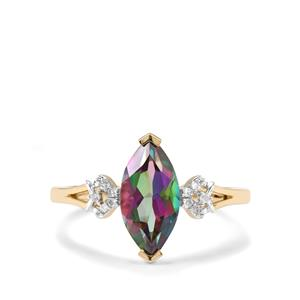 Mystic Topaz & Diamond 9K Gold Ring ATGW 2.15cts