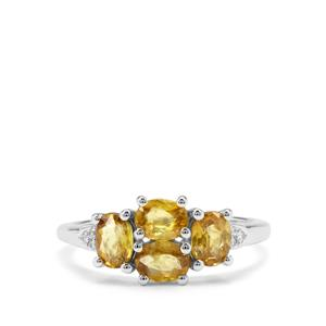 Ambilobe Sphene Ring with White Zircon in Sterling Silver 1.56cts