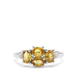 Ambilobe Sphene & White Zircon Sterling Silver Ring ATGW 1.56cts