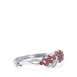 Malagasy Ruby Oval Bangle with Diamond in Sterling Silver 8.18cts (F)