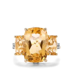 Diamantina Citrine Ring with White Zircon in 9K Gold 8.06cts