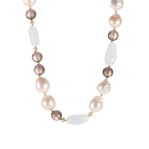Baroque Cultured Pearl, Smokey Quartz & Aquamarine Sterling Silver Sarah Bennett Necklace
