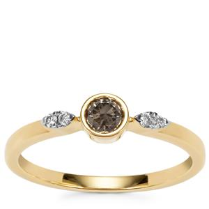 Natural Coloured Diamond Ring with White Diamond in 18K Gold 0.28ct