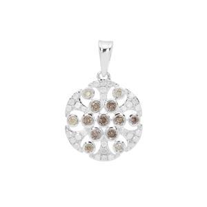 Multi-Colour Diamond Pendant in Sterling Silver 0.50ct