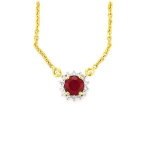 Madagascan Ruby Slider Necklace with White Zircon in Vermeil 0.93cts