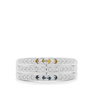1/20ct Blue, Yellow & White Diamond Sterling Silver Ring