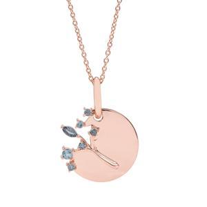 0.50ct Marambaia London Blue Topaz Rose Midas Pendant Necklace