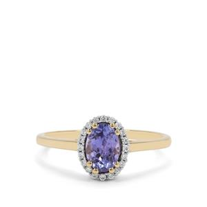 AA Tanzanite Ring with White Zircon in 9K Gold 1cts