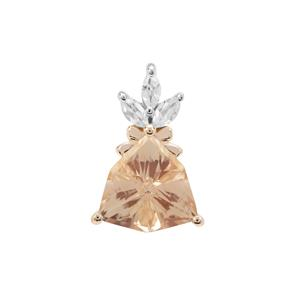 Serenite Pendant with White Zircon in 9K Gold 3.08cts