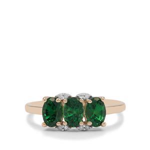 Tsavorite Garnet Ring with Diamond in 9K Gold 1.40cts