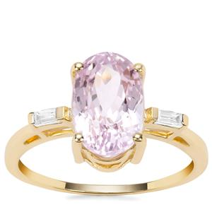 Kolum Kunzite Ring with White Zircon in 9K Gold 3.61cts