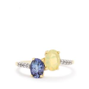 Ethiopian Opal , Bi-Colour Tanzanite & White Zircon 9K Gold Ring ATGW 1.20cts