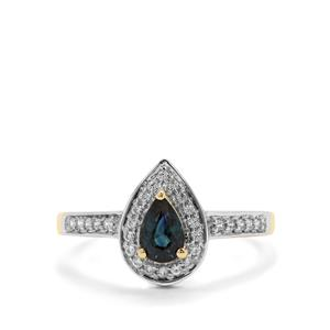 Australian Blue Sapphire & White Zircon 9K Gold Ring ATGW 0.71ct