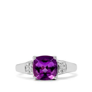 Kenyan Amethyst Ring with Diamond in Sterling Silver 2.02cts