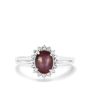 Bharat Star Ruby Ring with White Zircon in Sterling Silver 2.84cts