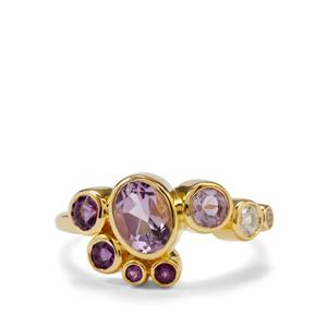 Zambian, Rose De France Amethyst Essencia Ring with White Zircon in Gold Plated Sterling Silver 1.54cts