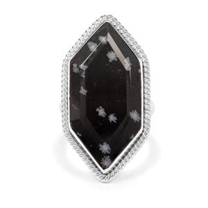 13.59ct Snowflake Obsidian Sterling Silver Aryonna Ring